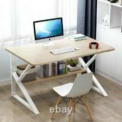 100CM Computer Desk PC Laptop Table With Shelves Home Office Study Workstation