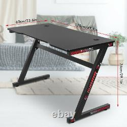 120cm Gaming Desk Z Shape Stable Computer Table for Gaming Monitor Keyboard