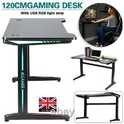 120cm PC Gaming Desk Computer Table Home Office PC Table with RGB LED Lights