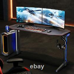 140CM Large LED Gaming Desk with Cup Holder Headphone Home Computer Black Table
