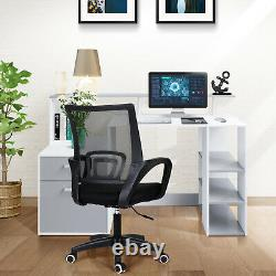 140cm Computer Desk Writing PC Table Workstation Laptop with 3 Shelf & 2 Drawers