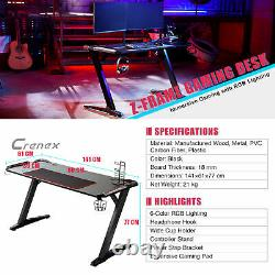 1.4m PRO RGB Gaming Table Computer Home Office PC Gaming Study Desk Z Shaped