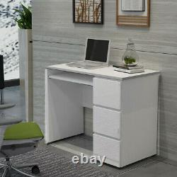 3 High Gloss Drawers 90cm Computer Table Desk Writing Gaming Home Worksation