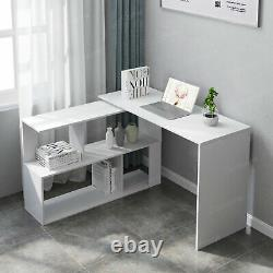 3-in-1 Rotating Writing Table Corner Computer Desk with 2 shelves & 4 Rack White