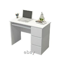 90cm Computer Desk PC Table with 3 High Gloss Drawers Kids Writing Worksation