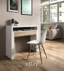 AMBRA White Computer Desk Extending Console to Homework Study Table 3 Styles