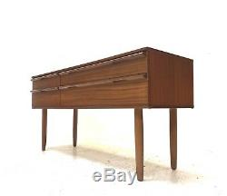 A Retro Avalon Walnut Sideboard, Dressing Table, Computer Desk On Tapered Legs