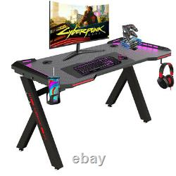 Adjustable LED Gaming Desk Computer Table withCup Holder Headphone Hook Cable Hole