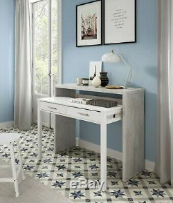 Ambra White + Cement Console Table Desk Pull Out Extending Workstation Solution
