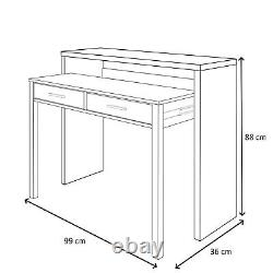 Ambra White + Cement Console Vanity Table Desk Pull Out Extendable Workstation