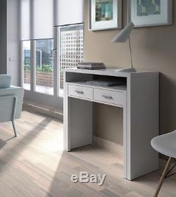 Ambra White Computer Desk Extending Console Dressing Table Bedroom