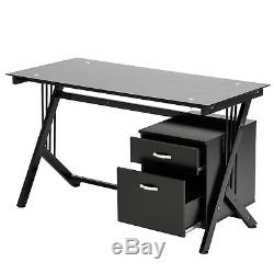 BN Black Glass Top Computer Desk with Side Drawer PC Writing Table Workstation