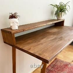 Bespoke handmade Tapered legs waxed Solid Wood table, large desk 120 X 59
