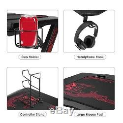 Black Gaming Computer Desk Home Office Table Cup Blue Headphones Holder Mousemat