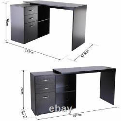 Black Home Study Office L-Shape Computer Desk Table With Drawer File Cabinet