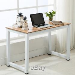 Black/Walnut PC Computer Desk Wooden Metal Furniture Home Office Writing Table