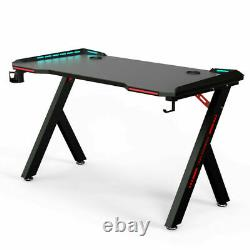 Black Z Shape Gaming Computer Table Laptop Desk Home Office With LED 12060CM