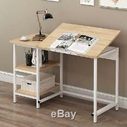 CherryTree Furniture Computer Desk Drawing Drafting Table with Tilt Top &