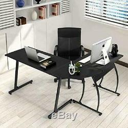 Coavas Computer Office Desk L-Shaped Wood Corner Table Large PC Gaming Study
