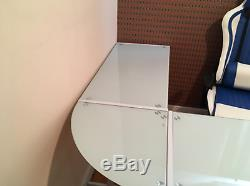 Computer Corner Table Home Office Workstation Desk L-Shaped Quality White Glass