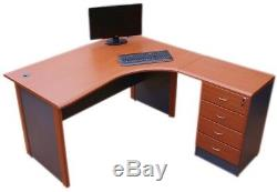 Computer Corner desk Right hand with 4 drawer extended pedestal table top