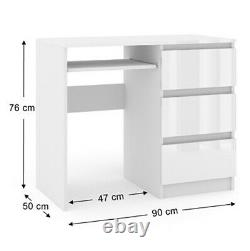 Computer Desk 3 Drawer High Gloss PC Dressing Table Workstation Office White New