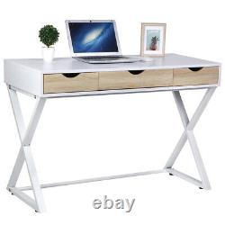 Computer Desk 3 Drawers PC Table Workstation Home Office Study Furniture Metal