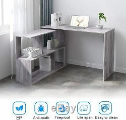 Computer Desk L-Shaped Corner Large PC Rotatable Table Gaming Home Office Grey