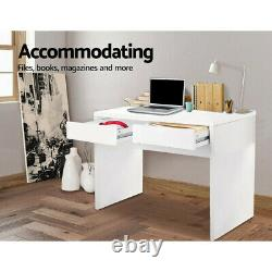 Computer Desk Laptop PC Table 2 Drawers Desktop Work Table White 42MM Thicness