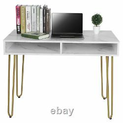 Computer Desk Marble Dressing Table Home Office Writing PC Table with Harpin Leg