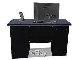 Computer Desk PC Table Home Office Furniture Workstation in Black Clr With Locks