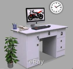 Computer Desk PC Table Home Office Furniture workstation in White Clr with locks