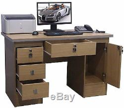 Computer Desk PC Table Study Desk Workstation 4 Home Office Furniture in Beech