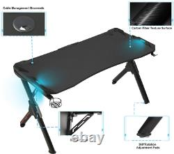Computer Desk R-Shaped Gaming Table Desk With 7-Color RGB Lights & Headphone Hook