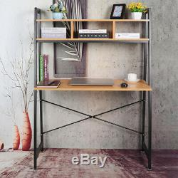 Computer Desk Study Table Laptop Writing Work Station Home Office Whit 3 Shelf