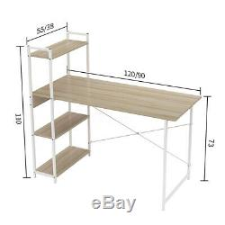 Computer Desk Table Laptop Display with 4 Tier Bookshelf Study Writing Office