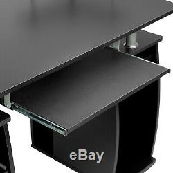 Computer Desk Table Office Workstation Study Writing PC Furniture Drawers Black