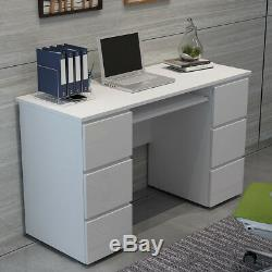 Computer Desk White High Gloss 5 Drawers PC Dressing Table Home Office Cabinet