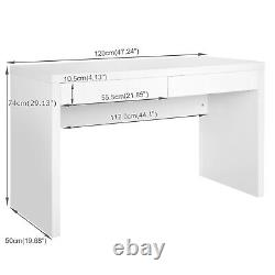 Computer Desk White with 2 Drawers PC Laptop Office Home Table Workstation