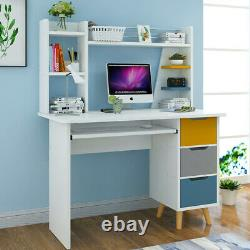 Computer Desk With Drawers Storage Shelf Workstation Laptop PC Table Home Office