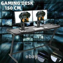 Computer Desk Z Shaped PC Gaming Table Workstation Home with RGB LED Light