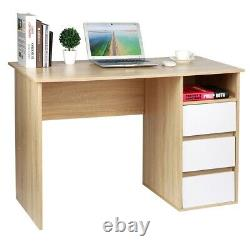 Computer Desk with 3 Drawer 1 Shelf Laptop PC Home Office Study Writting Table