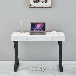 Computer Desk with Drawer Marble Dressing Table Office Writing PC Table White UK