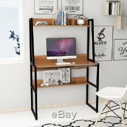 Computer Desk with Shelves Small Home Office Table PC Workstation Bookcase Wood