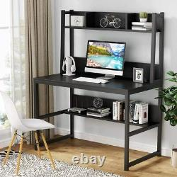 Computer Gaming Desk with Hutch & Shelves, PC Laptop Study Table for Home Office