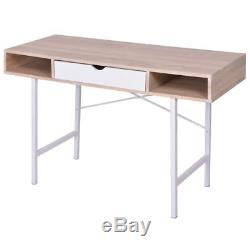 Computer Laptop Table Writing Desk Drawers Home Office Study Workstation Retro