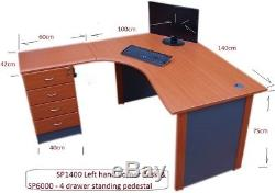 Computer Office Corner desk Left hand, 4 drawer pedestal & workstation table top