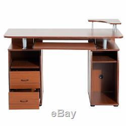 Computer Table PC Desk Work Station Drawer Monitor Printer Brown Home Office