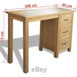 Computer Table Study Desk with 3 Drawers Oak Furniture Home Office 106x40x75 cm