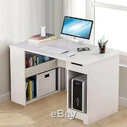 Corner Computer Desk H Shaped PC Laptop Gaming Table With Book Shelves Bookcase